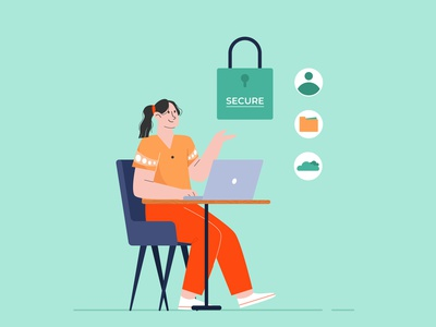 Data security flat design flat vector illustration database file account system security