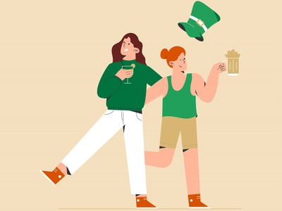 Saint patrick day and women s in party day design vector illustration flat design holi beer patricks day woman party celebrate saint patricks day