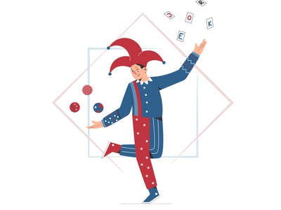 Joker playing card and ball flat design flat design vector illustration circus playing ball card clown joker