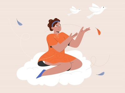 Woman over cloud and free bird woman illustration design flat design flat vector illustration fly over bird cloud woman