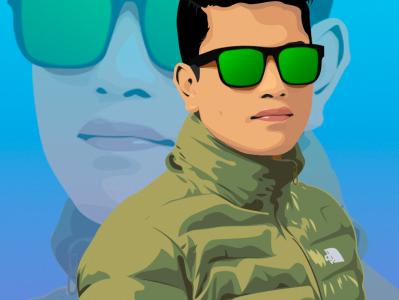 Rasen Digital Portrait 5th edit vector design illustration