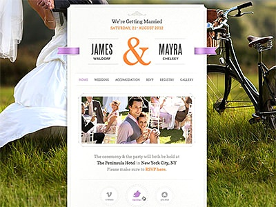 Just Married wordpress wedding marriage rings ribbons