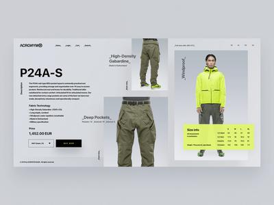 ACRONYM fashion gear store tech website minimal web ux branding ui design