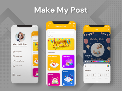 Make My Post logo illustrator icon app animation ux ui design