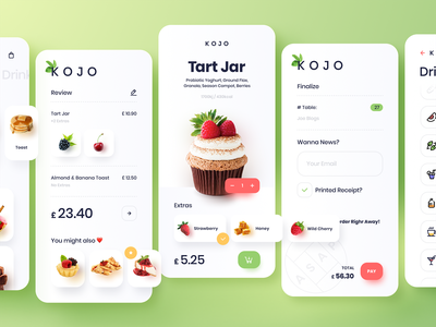 KOJO Dessert Ordering App logo icon app animation ux ui design