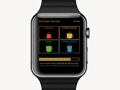 Caffeine Tracker color scheme ui app apple watch coffee