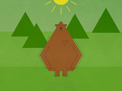 Forest Bear color flat graphics illustration