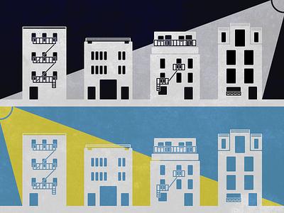 Night and Day neighborhood architecture flat graphics illustration
