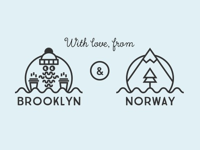 With love, from Brooklyn & Norway norway brooklyn line art illustration