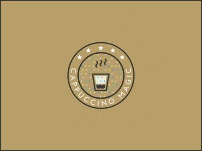 Cappuccino Magic coffee line art illustration stamp