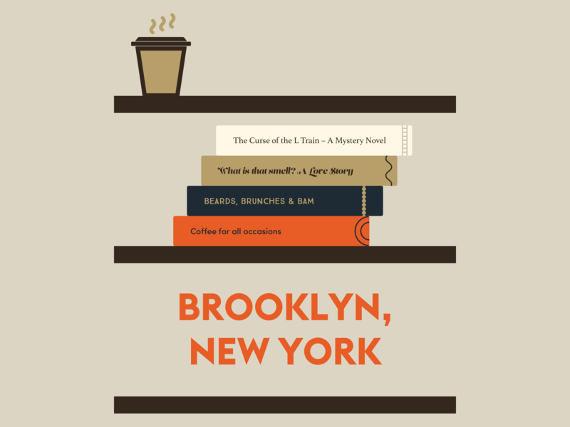 Brooklyn, New York brooklyn bookshelf books flat graphics coffee illustration