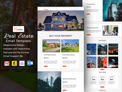 Real Estate Email or Newsletter Template responsive design landing page design ux ui web design uiux website ui template email marketing email signature campaign monitor gmail landingpage web template html email template mailchimp email news letter email template