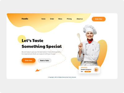Foodie Header Design landing page design food ui webpage ux homepage graphic design landing page
