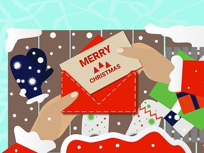 Santa got a greeting card santa illustration flat vector