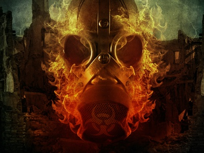 Toxic toxic photoshop cd cd cover design photo metal band fire dark