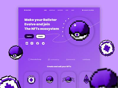 BallStar NFTs - NFT Game Marketplace Landing Page landing page nft branding logo ux illustration graphic design ui web design vector design web