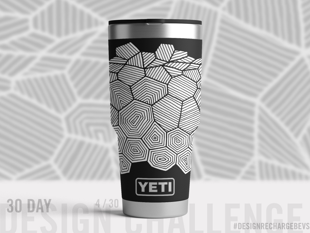 Proposed custom YETI design 4/30 freehand drawing drawing op art blackwork blackandwhite hand drawn geometric illustration cool urban art textile design surface design pattern design pattern branding packaging design packaging mockups illustration lineart art licensing abstract art
