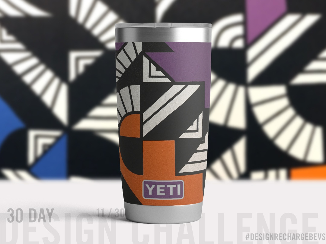 Proposed custom YETI design 11/30 geometric illustration line art pattern drawing hand drawn blackwork packaging design murals graffiti op art freehand illustration geometric branding surface design pattern design art licensing abstract art urban art textile design