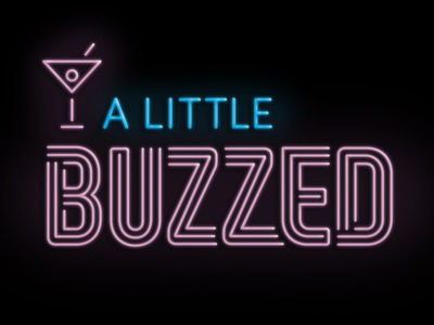 A Little Buzzed Logo Concept 3 - The Winner! neon sign neon martini bar illustration design logo designer identity designer custom font custom type lettering cocktail podcast logo podcast logo design logomark icon logotype identity logo