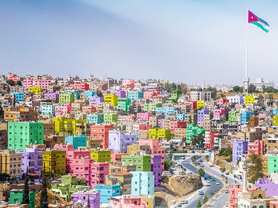 jordan colourful  jordan amman jo colourful flag building