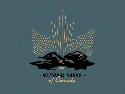 National Parks of Canada maple leaf stars mountains illustration tee badge parks canada