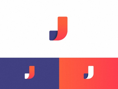 Logo Concept agency mark tech digital curve gradient j icon logo