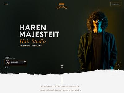 Haren Majesteit (barbershop) website web branding design haircut hairstyle hair barber barbershop