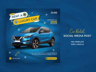 Car rental social media post or square banner template luxury vehicle
