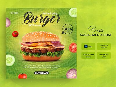 Fast food, Burger social media post or banner template meal