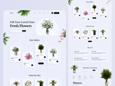 Flower shop landing page or web Ui website template landing home page natural neumorphism soft ui fresh flower flower shop landing page web design interface web page site design ui