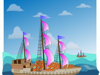 The ship children art cartoon illustration cartoon art
