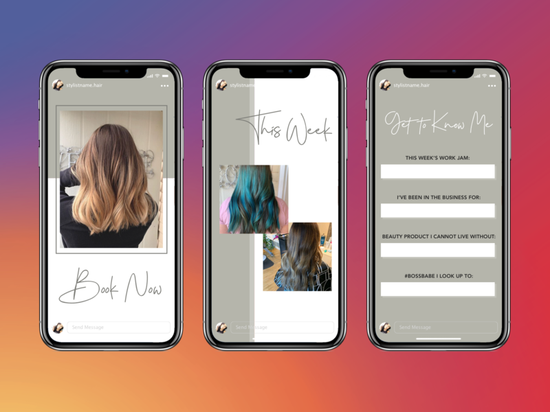 Instagram Stories for Hair Stylist brand identity creative design graphic designer promotional design small business ideas instagram template instagram stories pack clean design marketing design social marketing hairdresser brand design branding social media template design templates instagram stories instagram