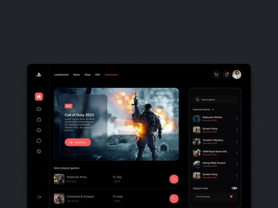 Gaming web app ui design uiux game