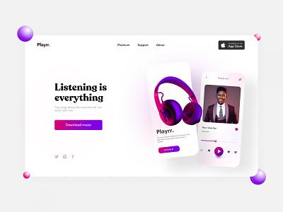 Playrr music web logo illustration design mobile design mobile ui design mobile app design ui mobile ui ui design uiux