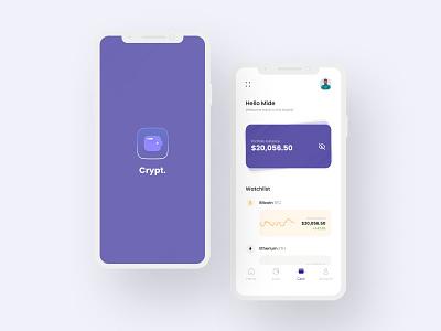 Crypto Mobile App logo illustration design mobile design ui mobile ui design mobile app design mobile ui ui design uiux