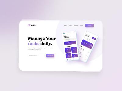 Task  manager landing page logo illustration design mobile design mobile ui design mobile app design ui mobile ui ui design uiux