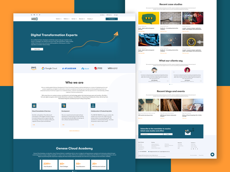 Genese - Landing page webdesign landing concept clean ui interface design.blues web footer header website design website adobe xd landing page ux ui