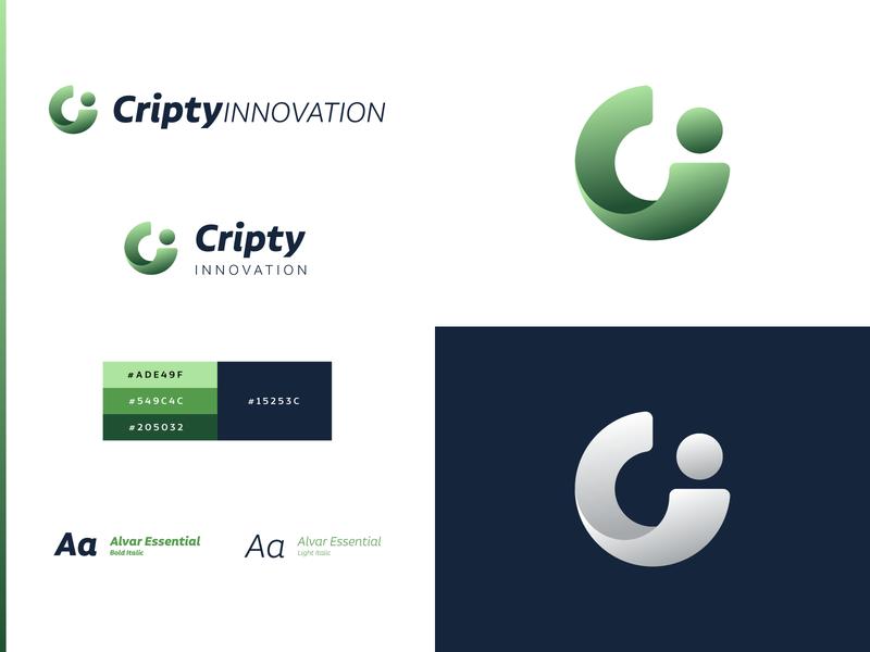 Cripty Innovation - Branding green logo green gradient green gradient gradient logo design.blues c logo logo design c illustration branding and identity branding logo app icon brand identity