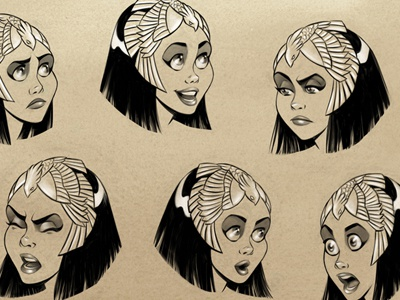 Cleo Expression Sheet snake cobra asp cleopatra queen egypt character design characters illustration fear surprise anger contempt joy sadness