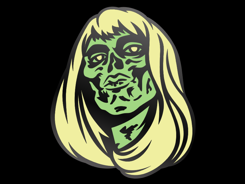 Wraith Enamel Pin Design blonde halloween illustration enamel pin ghost wraith zombie