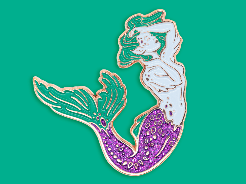 Lagoon Green Siren illustration enamel pin siren lagoon mermaid