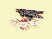 Raven with Blood Moon Enamel Pin