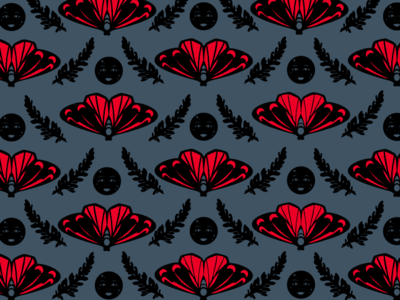 Cinnabar Moth and New Moon WIP Alternate #3 poison new moon ragwort moonlight print design textile moon moth