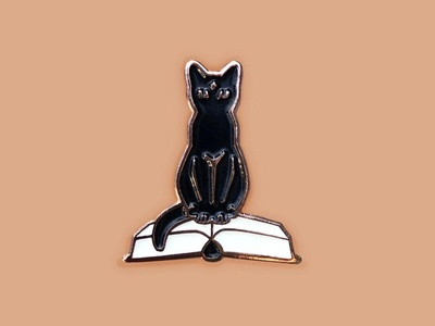 Spell Book Kitty Pin
