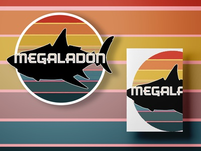 Megaladon Stationary Duo flat minimal design illustration dinosaur megaladon ocean sharks silhouette jpeg png psd sticker stationary videogame ark survival ark