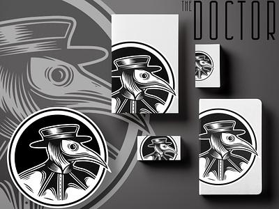 The Doctor Sticker and Stationary logo illustration flat mockup design minimalism stationary icon sticker plague doctor blackandwhite greyscale humor plague minimal