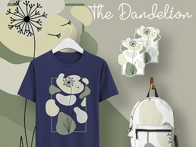 The Dandelion | Digital Design Product Mockup modern geometric soft dandelion flowers neutral green stickers shirt bag lineart flower floral concept art illustration mockup psd mockup minimal design