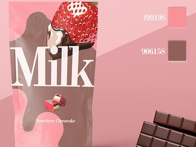 Milk Color Coordination productdesign sweets strawberry complimentary palette dessert pink concept art branding advertising flat mockup psd illustration minimal mockup design