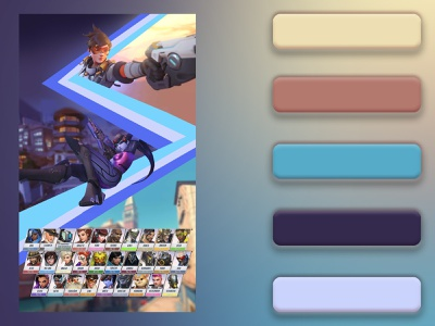 Overwatch 3-page Color Study ui design colorful mockup webdesigns layout webdesign webpage video games gaming overwatch overwatch league color study color theory palette color