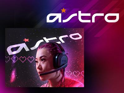 Astro A10 concept art advertising design modern gradient pixelart minimal headset splash gamergirl logitech astro gaming gaming ad mockups